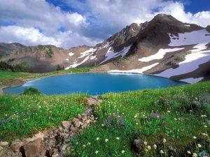 paisaje-lago-montanas-nevadas-y-flores
