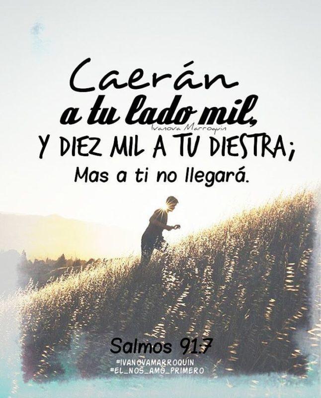 Versiculos Biblicos De Promesas De Dios: Mas A Ti No Llegará, Dios Te Cuida